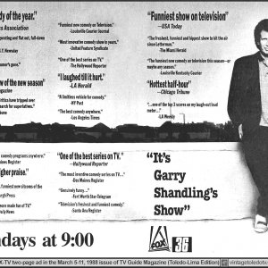 "Garry Shandling, ""TV Guide"" magazine advertisement, March 5, 1988"