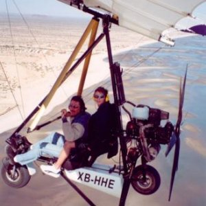Justin Berfield taking off in an ultralight aircraft