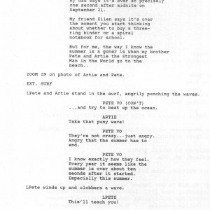 First page of the 'What We Did on Our Summer Vacation' script