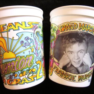 Special Frankie Muniz cups made for the 2001 New Orleans Mardi Gras parade