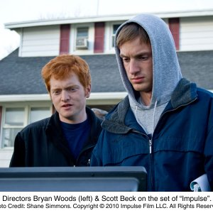 Directors Bryan Woods (left) and Scott Beck on the set of Impulse