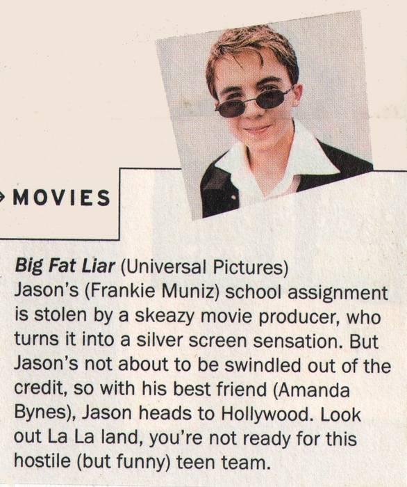 Frankie Muniz, 'Big Fat Liar', unknown magazine, 2002