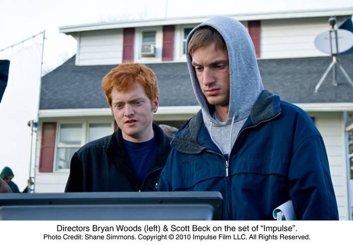 Directors Bryan Woods (left) and Scott Beck on the set of Impulse