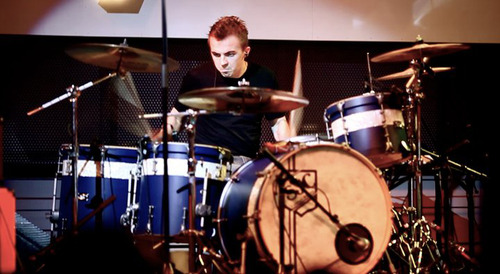 Frankie Muniz recently, playing his custom SJC Drums