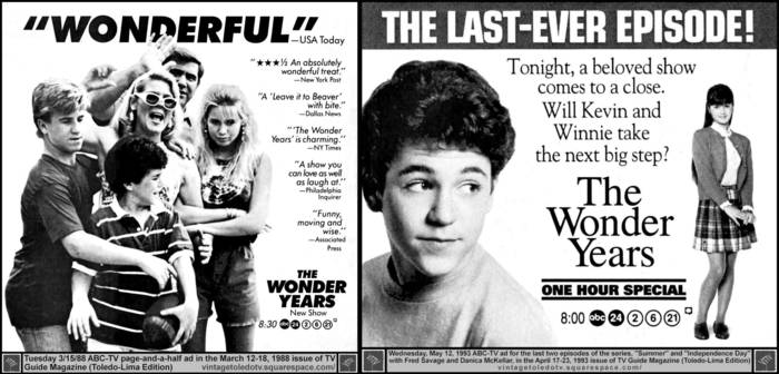 'The Wonder Years' TV Guide magazine ad for first and ...