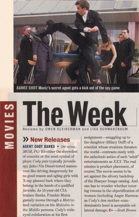 """Entertainment Weekly"" magazine review, March 12, 2003"