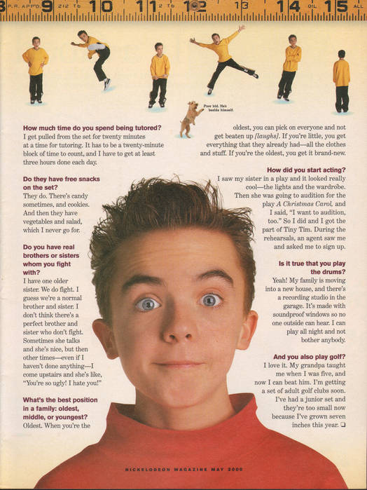 Frankie Muniz feature and cover in 'Nickelodeon' magazine, May 2000