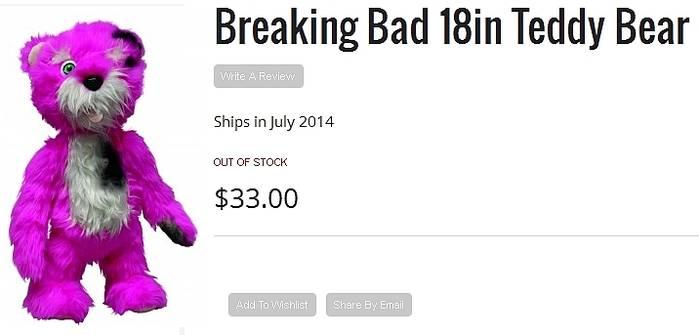 Breaking Bad: Burnt pink teddy bear from Mezco Toys