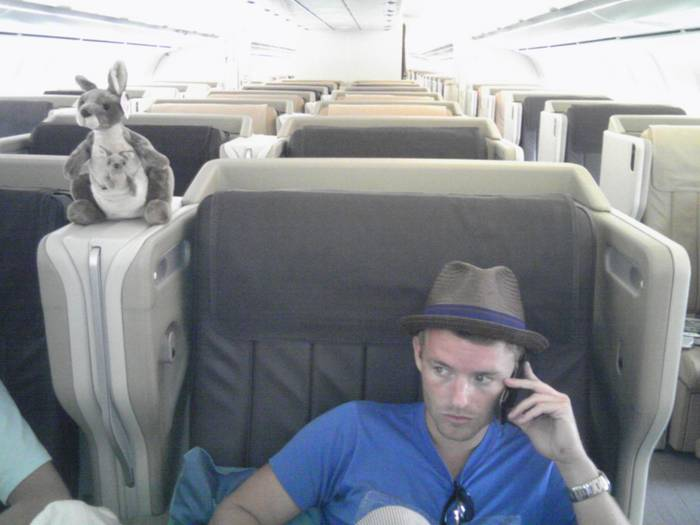 Chris Masterson on Plane Back From Singapore With Chinese Kangaroo
