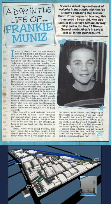 "Frankie Muniz, ""Bop"" magazine, early 2000"