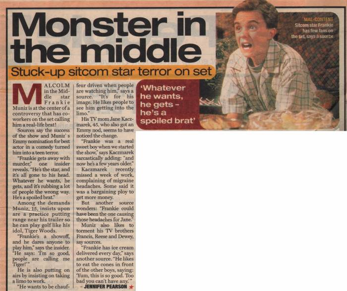 "Frankie Muniz, British ""Star"" magazine, early 2002"