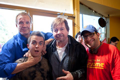 Frankie with Diamond Dallas Page, Rowdy Roddy Piper, and director Joe Eckar