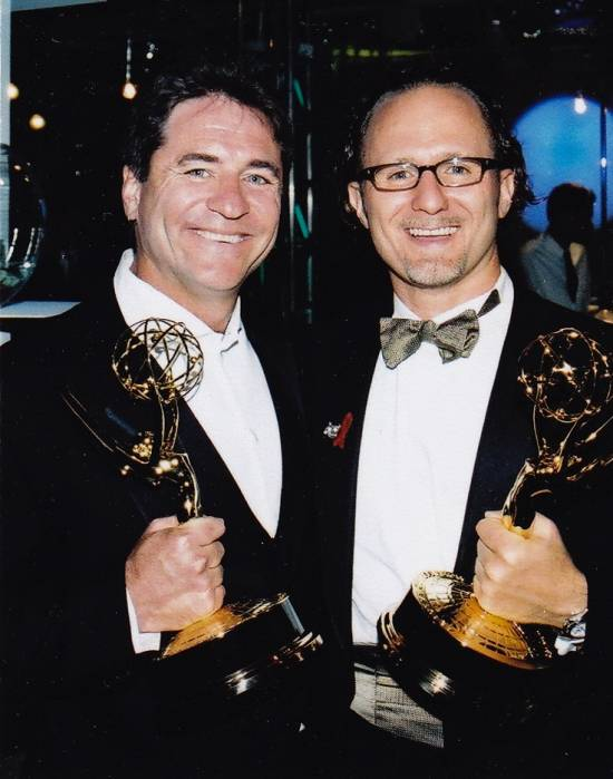 Linwood Boomer and Todd Holland winning Emmy Awards