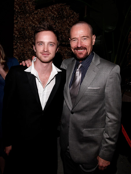 Bryan Cranston and Aaron Paul at Emmy Awards Performer Nominee Reception