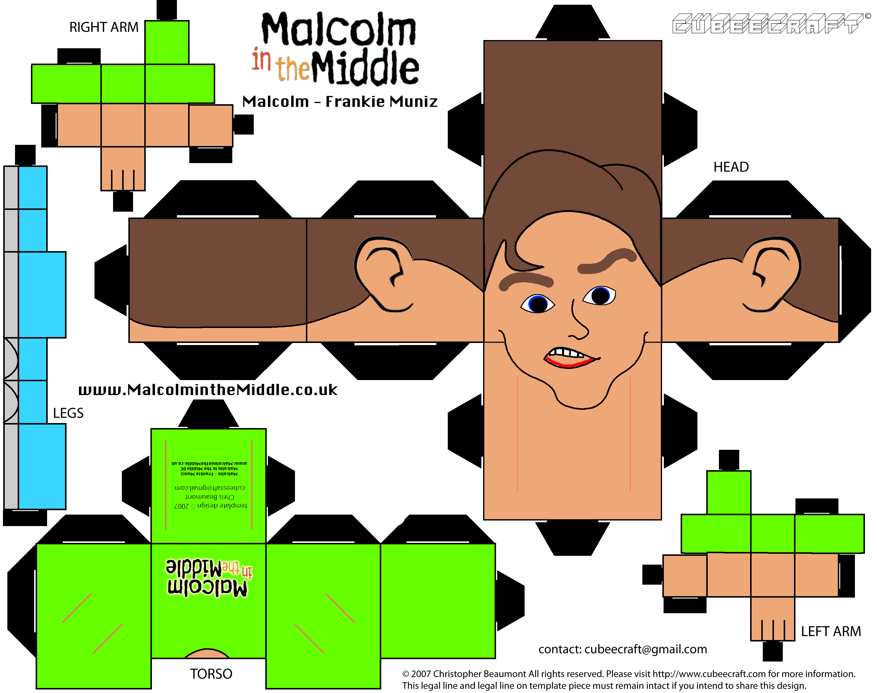 Malcolm Cubee Craft Paper Toy Make Your Own Malcolm